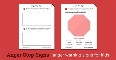anger stop signs worksheet therapist aid