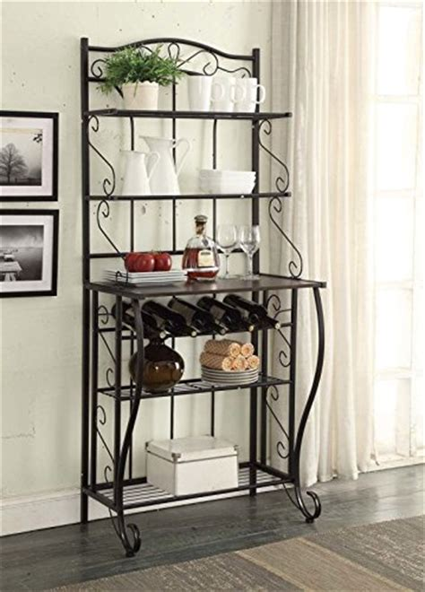 wine cabinet kitchen 5 tier black metal cappuccino finish shelf kitchen bakers 1110