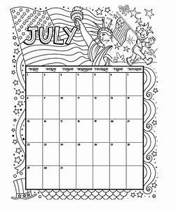 July Printable Coloring Calendar 2019   July  Calendar