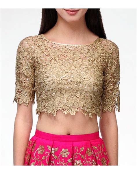 lace gold crop top  lehengas blouses clothing