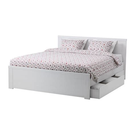 brusali bed frame with 2 storage boxes white lur 246 y 140x200