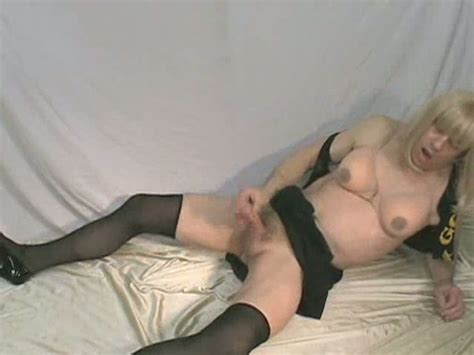 Homemade Video Of One Blonde Crossdresser Stroking His Big