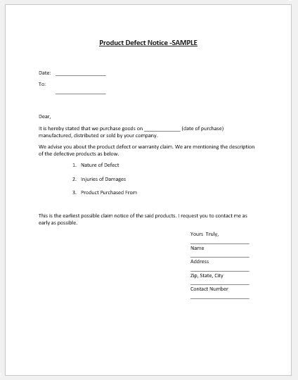 product defect notice template ms word word excel