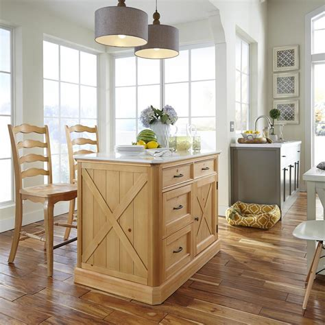 kitchen islands at home depot home styles country lodge pine kitchen island with quartz