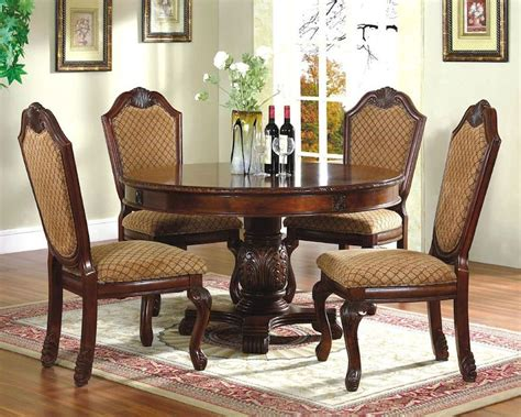circle dining table set 5pc dining room set with round table in classic cherry