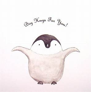 Cute Penguin illustration Print Big Hug Grey Black White