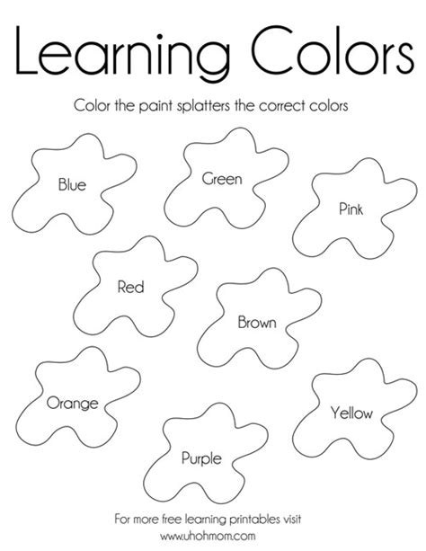 learning colors  printable uh  mom
