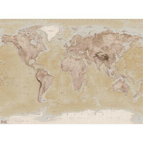 wall neutral world map atlas wallpaper mural