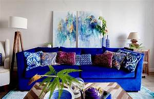 Eclectic, Cozy, Living, Room, Decor, With, Navy, Blue, Sofa