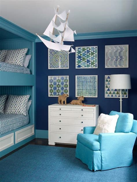 A bunk bed may not look pretty in bedroom decor (more on that later), but they are very practical. Blue Boys Bedroom with Turquoise Shiplap Bunk Bed - Contemporary - Boy's Room