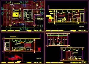 Detail Living Room In AutoCAD CAD Download 25579 KB