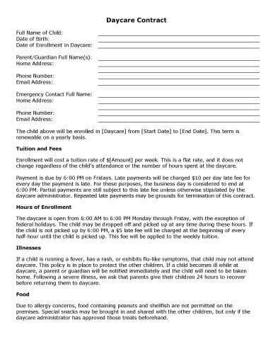 daycare contract template sle contract templates hloom