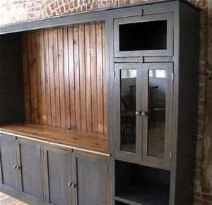 Large farmhouse style media cabinet ecustomfinishes for Barnwood media cabinet