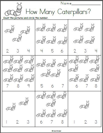 caterpillar counting math worksheet  images