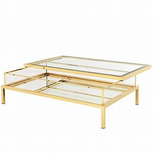 slide coffee table in gold finish with clear glass and With clear and gold coffee table