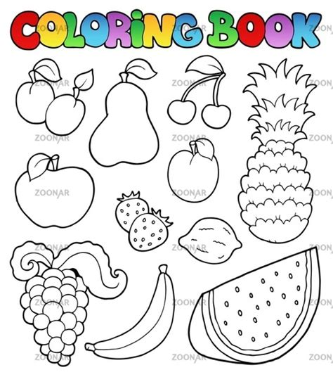 fruits coloring book  vegetables pictures peach color