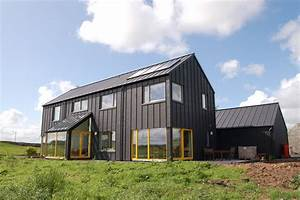Single color house with color popping windows black zinc for Metal shed homes