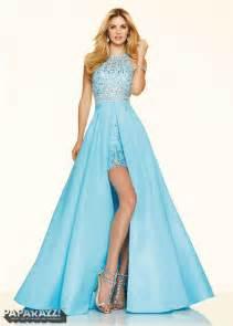 trendy bridesmaid dresses 2016 dramatic beaded taffeta open back sky blue high low prom dress mori 98001 sky blue