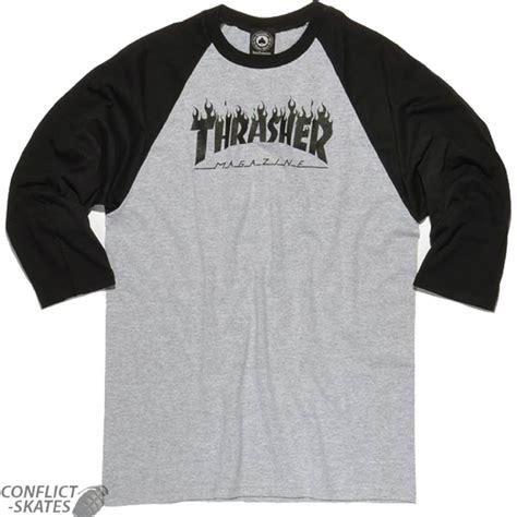 thrasher magazine logo raglan t shirt 3 4 sleeve black grey choose s m l or xl 1