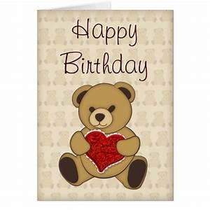 Cute Teddy Bear with Roses Birthday Card   Zazzle