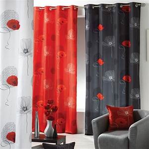 Rideau Voilage Rouge : rideau 140 x h260 cm poppy rouge rideau tamisant eminza ~ Teatrodelosmanantiales.com Idées de Décoration