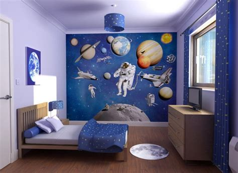 Galaxy Themed Boys Bedroom, Adhesive Tile Wallpaper