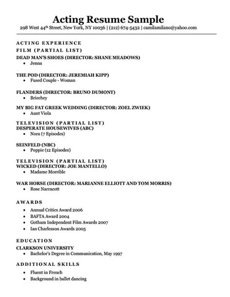 Acting Resume Format by Acting Resume Sle Writing Tips Resume Companion
