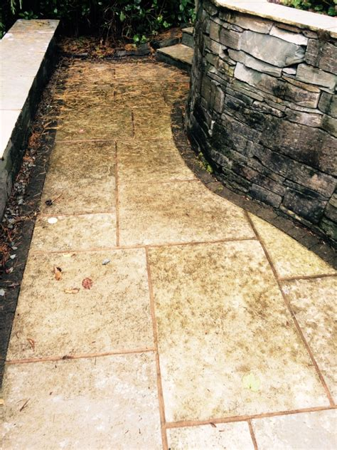 green indian limestone patio treated for heavy staining in