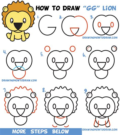 learn   draw  cute cartoon lion  letters