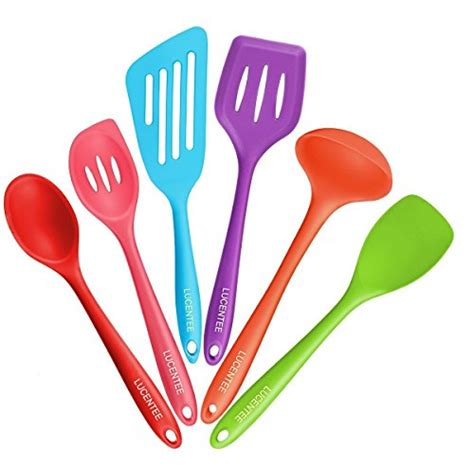 utensils kitchen rubber spatulas non silicone plastic cooking sets stick spatula heat spoon ladle slotted cookware spoonula resistant piece nonstick