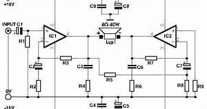 Schematic  Build A 35w Bridge Power Amplifier With Tda2030