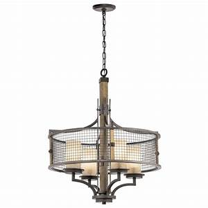 Wood pendant ceiling lights : Rustic style hanging ceiling pendant light iron mesh and