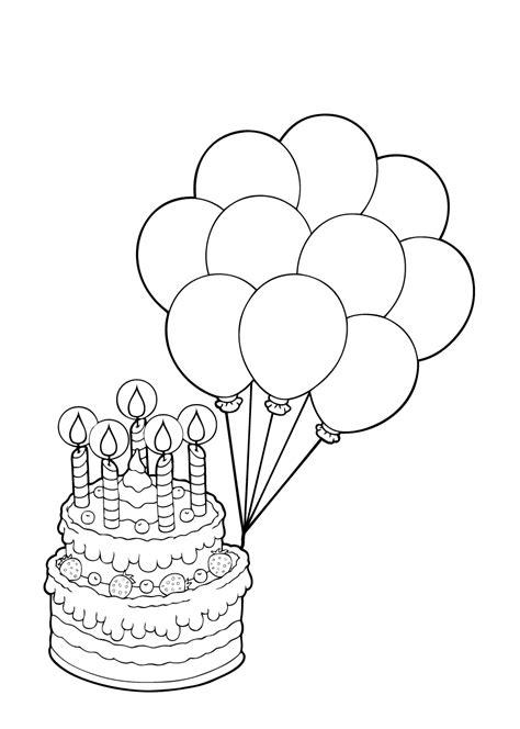 Kleurplaat Ballon Met Mandje En Baby by Kleuren Nu Taart Met 5 Kaarsjes En Ballonnen Kleurplaten
