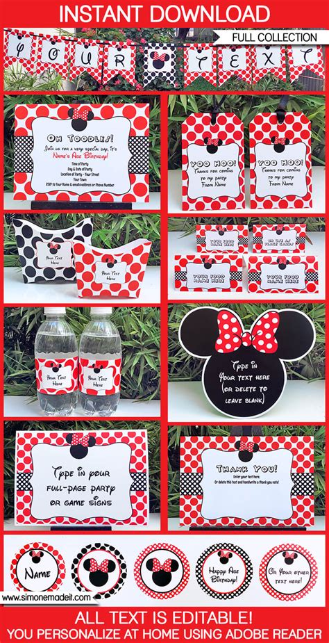 minnie mouse birthday party printables invitations