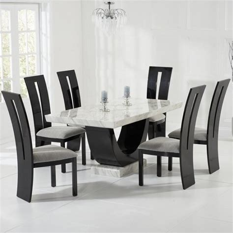 marble breakfast table sets allie marble dining table in cream with 6 ophelia grey