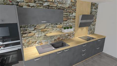 cuisine en i cuisine gris et bois
