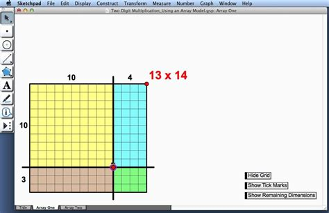 multiplication chart two digit multiplication using an array model youtube