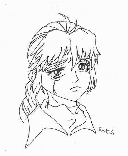 Sad Coloring Anime Pages Face Line Drawing
