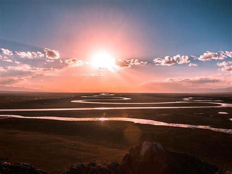 np praries sunset sky river nature wallpaper
