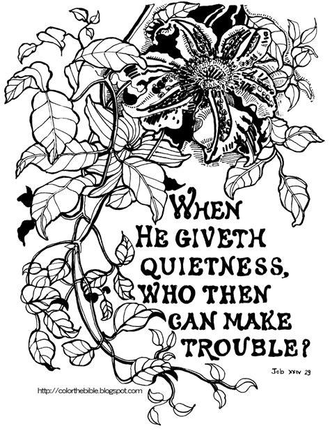 Job 34:29 Passion Flower | Color The Bible