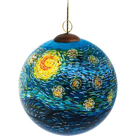 la pastiche starry night hand painted glass ornament