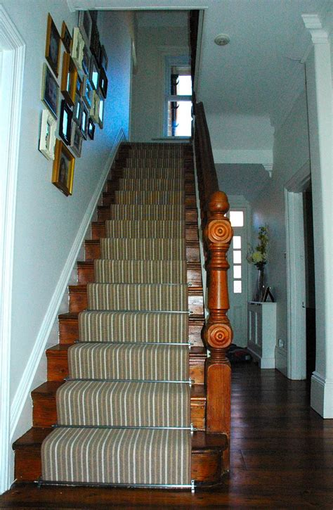 Loop Pile Wool Carpet by Striped Carpet Stair Runner With Stairrods Highdown Carpets