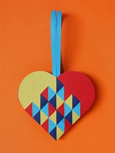 Heart #050 Triangles in 4 colours | PaperMatrix  Heart