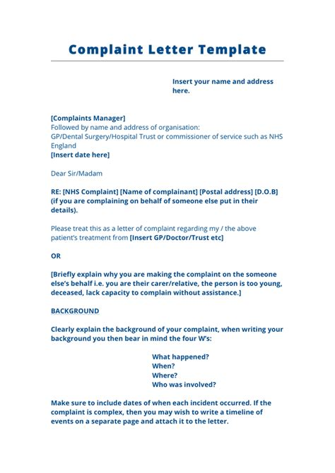 complaint letter template uk fee schedule template