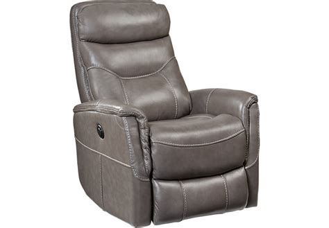 home bello gray leather power swivel glider