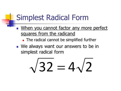what is simplified radical form in math quora