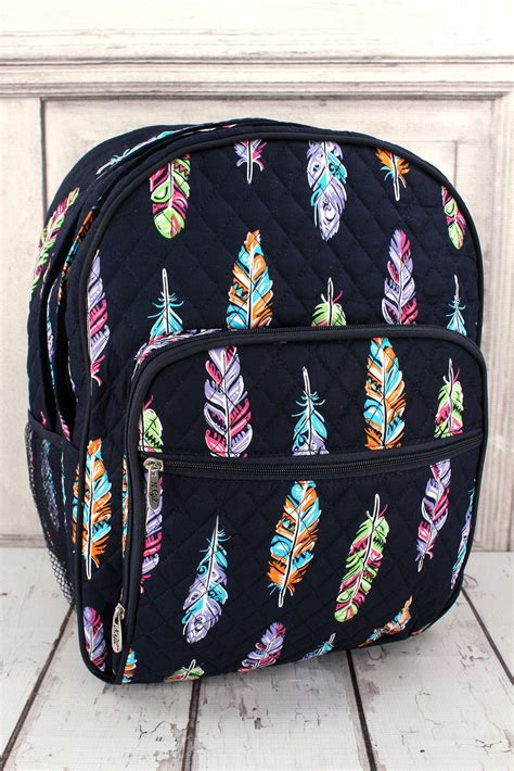 fancy feathers oversized quilted backpack monogrammed backpack personalized backpack backpack