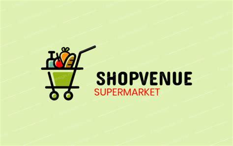 supermarket trolley  grocery logo template