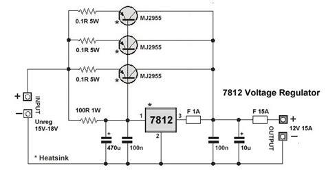 high current 7812 voltage regulator coll circuit