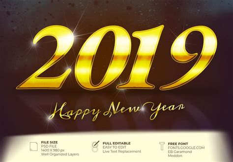 Happy New Year 2019 Shiny Text Written In Gold Background